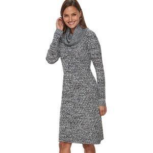 Dana Buchman mitered cowl neck sweater dress XL